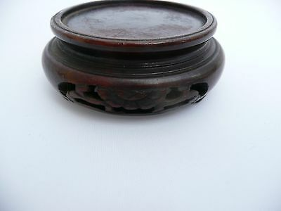 """Rare Antique Chinese Carved Wooden Vase Bowl Jade Stand Base Display 1.9"""" Dia"""