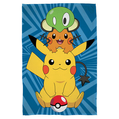 "Pokemon ""Catch"" Polar-Fleecedecke Pikachu Kuscheldecke Kinder 100 x 150 neu"