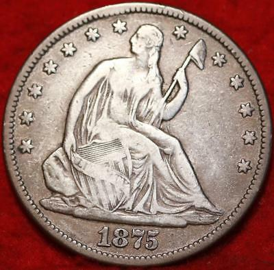 1875 Philadelphia Mint Silver Seated Liberty Half Dollar Free S/H