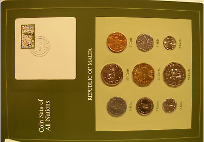 Malta 9 Coin Set UNC 1972 - 1982 Coin Sets of All Nations