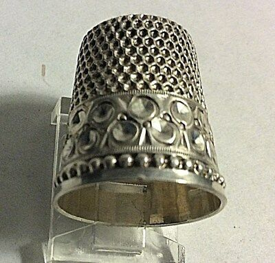 Antique Stern Bros Sterling Silver Geometric Design Thimble Sewing Size 10