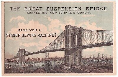 Singer Sewing Machine New York to Brooklyn Bridge VTC Victorian Trade Card a