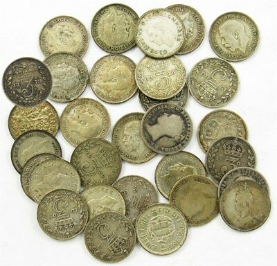 Lot of 30 British Silver 3 Pence -Dated 1856-1941 -Avg Circ to AU- ASW .948 oz