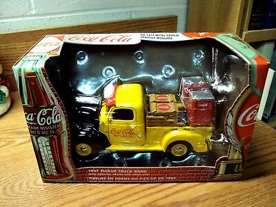 2000 COCA-COLA: 1947 PICKUP TRUCK Coin BANK w/Coolers Crates & Hand Cart 27026