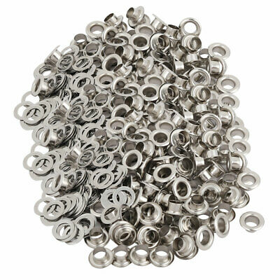 500pcs 4.5mm Iron Eyelet Grommets Silver Tone w Washers for Clothes Leather