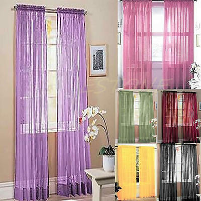 Coloful Floral Tulle Voile Door Window Curtain Drape Panel Sheer Scarf Valances