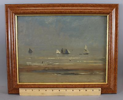 Antique 1888 French Impressionist Gustav Adelsward Sailboat & Beach Oil Painting