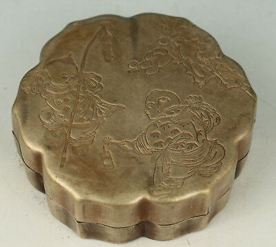 Chinese Old Copper Handmade Carved Chinld Statue Box