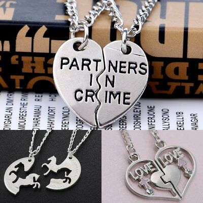 Stainless Steel Couple Love Heart Pendant Necklace Mother's Day Gift Jewelry New