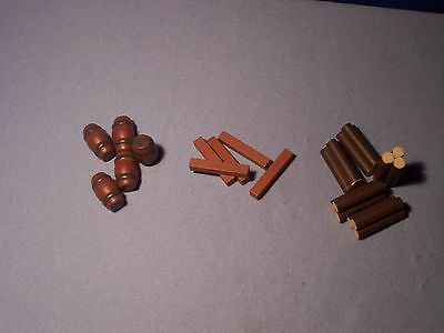HO or N Gauge * Set of 5 Each (15 pcs) * Barrels, Log Pile, Lumber * NEW * Cargo