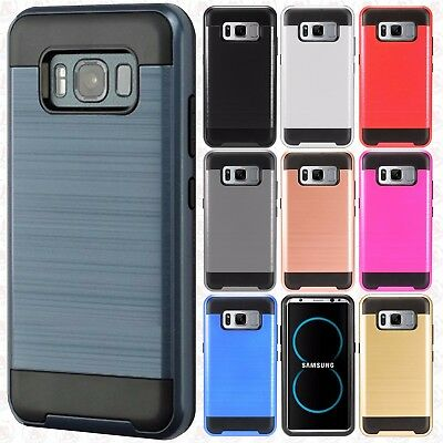 For Samsung Galaxy S8 Active Brushed Metal HYBRID Rubber Case Phone Cover