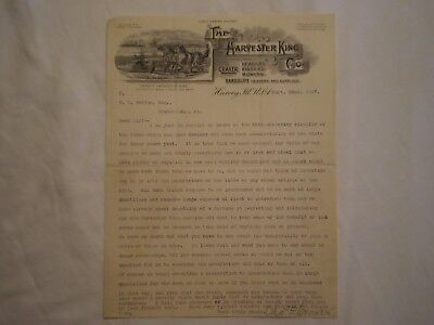 Antique 1897 Craver Harvester King Horse-Drawn Agricultural Harvey Il Letterhead