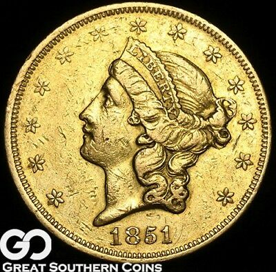 1851 Double Eagle, $20 Gold Liberty, No Motto, Tougher Date ** Free Shipping!