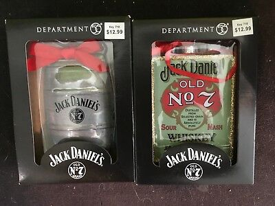 "Dept 56 4.13"" Jack Daniels Number 7 Lot Of 2 Ornament Whiskey"