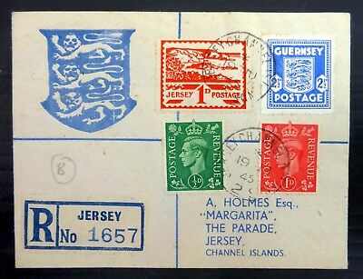 GB JERSEY Registered Souvenir Cover with Additional Guernsey SEE BELOW BJ383