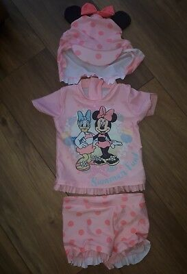 Girls Minnie Mouse Sunsuit & Matching Hat Age 9 - 12 Months