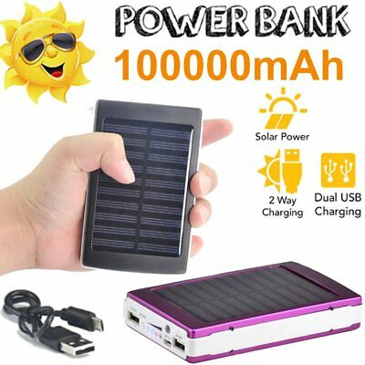 100000mAh Portable Dustproof Solar 2USB Battery Power Bank Pack Charger Phone