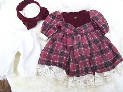 Alte Puppenkleidung Red Warm Dress Outfit vintage Doll clothes 40 cm Girl
