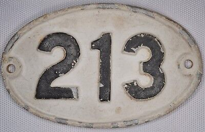 Old English cast metal oval house number 213 door gate plate fence plaque sign