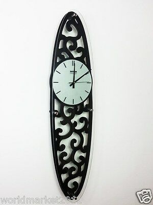 New European Rural Style Oval Decoration Wood + Glass Mute Creative Wall Clock
