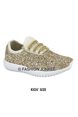 Kids Gold Glitter Bomb Sneakers Tennis Shoes Lace Up Flats
