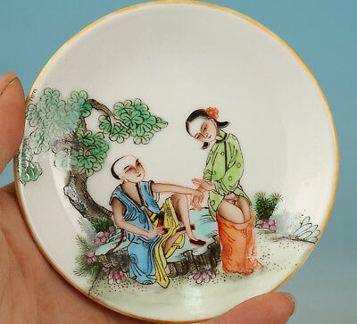 Art Chinese Old Porcelain Handmade Painting Belle Statue Plate