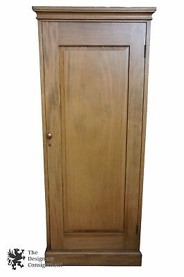 "78"" Mid Century Mahogany Single Door Armoire Closet Wardrobe Hooks Shelf Storage"