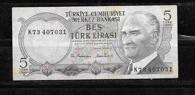 Turkey #185 Vf Used 1975 Old 5 Lira Banknote Paper Money Currency Bill Note