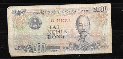 VIETNAM #107a 1988 OLD VG CIRC 2000 DONG BANKNOTE BILL NOTE PAPER MONEY