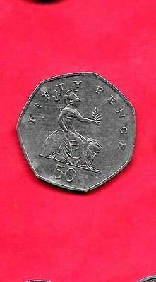 Great Britain Gb Uk Km940.2 1997 Vf-Very Fine-Nice 50 Pence Large Coin