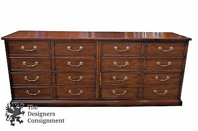 "74"" Sligh Traditional Mahogany Credenza W/ Lateral File Cabinets 4 Drawer Vtg"