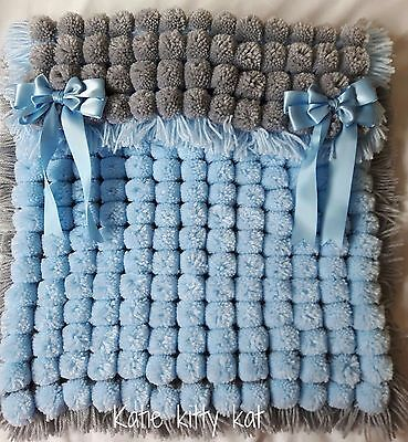 Blue And Silver Pom Pom Turnover Blanket With Satin Bows