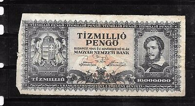 Hungary #123 1945 Good Circ 10 Millionon Pengo Old Banknote Paper Money