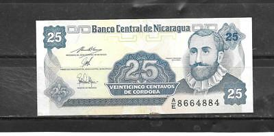 NICARAGUA #170a UNCIRCULATED OLD 1991 25 CENTAVOS BANKNOTE BILL NOTE PAPER MONEY