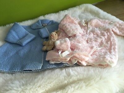 AUTHENTIC VINTAGE 1970s UNUSED BABY BUNDLE KNITTED PRAM SET/COAT 3/6 M