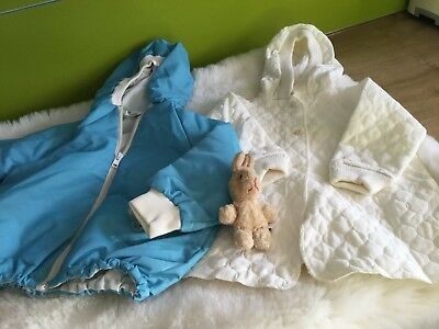 2 x AUTHENTIC VINTAGE INFANT BABY CHILDRENS PRAM COATs 3/12m 70s UNUSED
