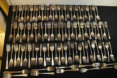 Mixed Lot of 100 Vintage Silver Plate Luncheon Forks Craft Grade #LF2