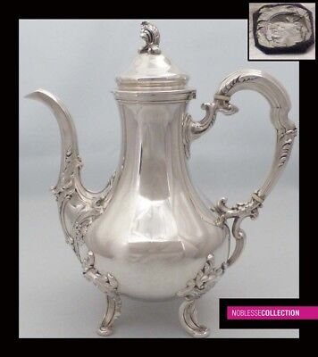 ELEGANT ANTIQUE 1880s FRENCH ALL STERLING SILVER COFFE/TEA POT Rococo style