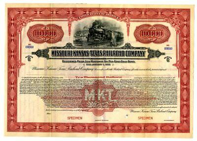 Missouri-Kansas-Texas Railroad Co., 1922 Specimen $10,000 Gold Registered Bond