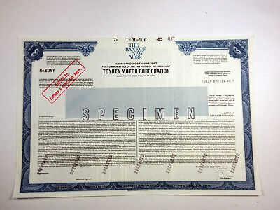 Japan. Toyota Mmotor Corp 1970-80's Specimen Odd Shares A.D.R. XF ABN Automobile