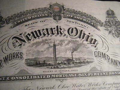 Newark, Ohio HUGE Waterworks 1905 6% Coupon Bond with SUPER Engraving, Signed !