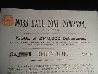 Moss Hall Manor House Coal Company 1899 £100 Debenture Audlem, Cheshire, England