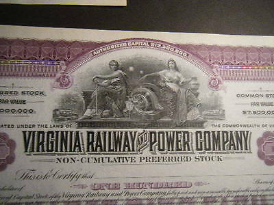 Virginia Railway & Power Company Set-3 CRISP unissued but signed BEAUTIFUL Certs