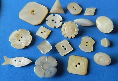 LOT SHAPES CARVED antique Vtg MOP Pearl Shell Buttons FLOWERS Square FISH ++