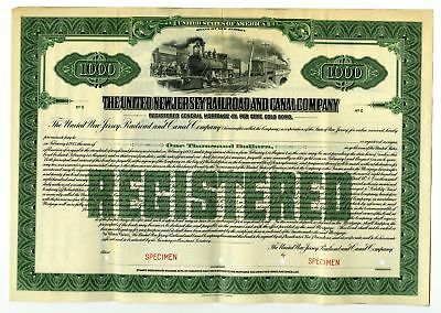 NJ. United New Jersey Railroad and Canal Co. 1923 Specimen $1000 Registered Bond