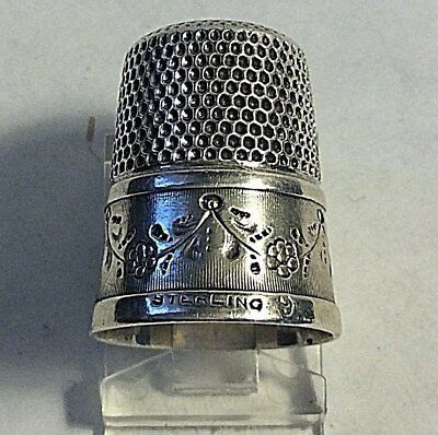 Antique Simons Bros Sterling Silver Swag of Flower Branch Design Thimble Sewing