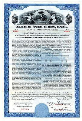 NY. Mack Trucks, Inc., 1956 Specimen $500 Coupon Bond VF ABN Blue Border