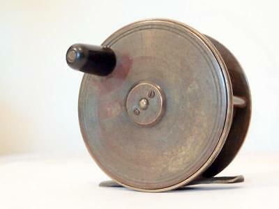 """Antique TROUT FLY FISHING REEL 3"""" BRASS COLLECTABLE PLATE WIND ANGLING WINCH VGC"""