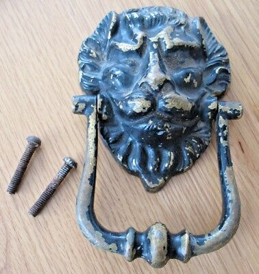 Large old reclaim and weathered Brass LIONS HEAD door knocker pull handle
