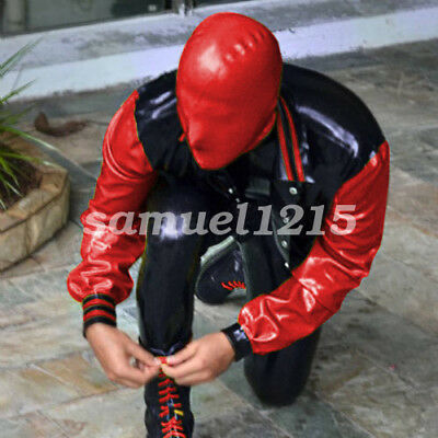 100% Latex  Rubber Gummi Men Fashion Handsame Jacket And Pants Suit XXS-XXL